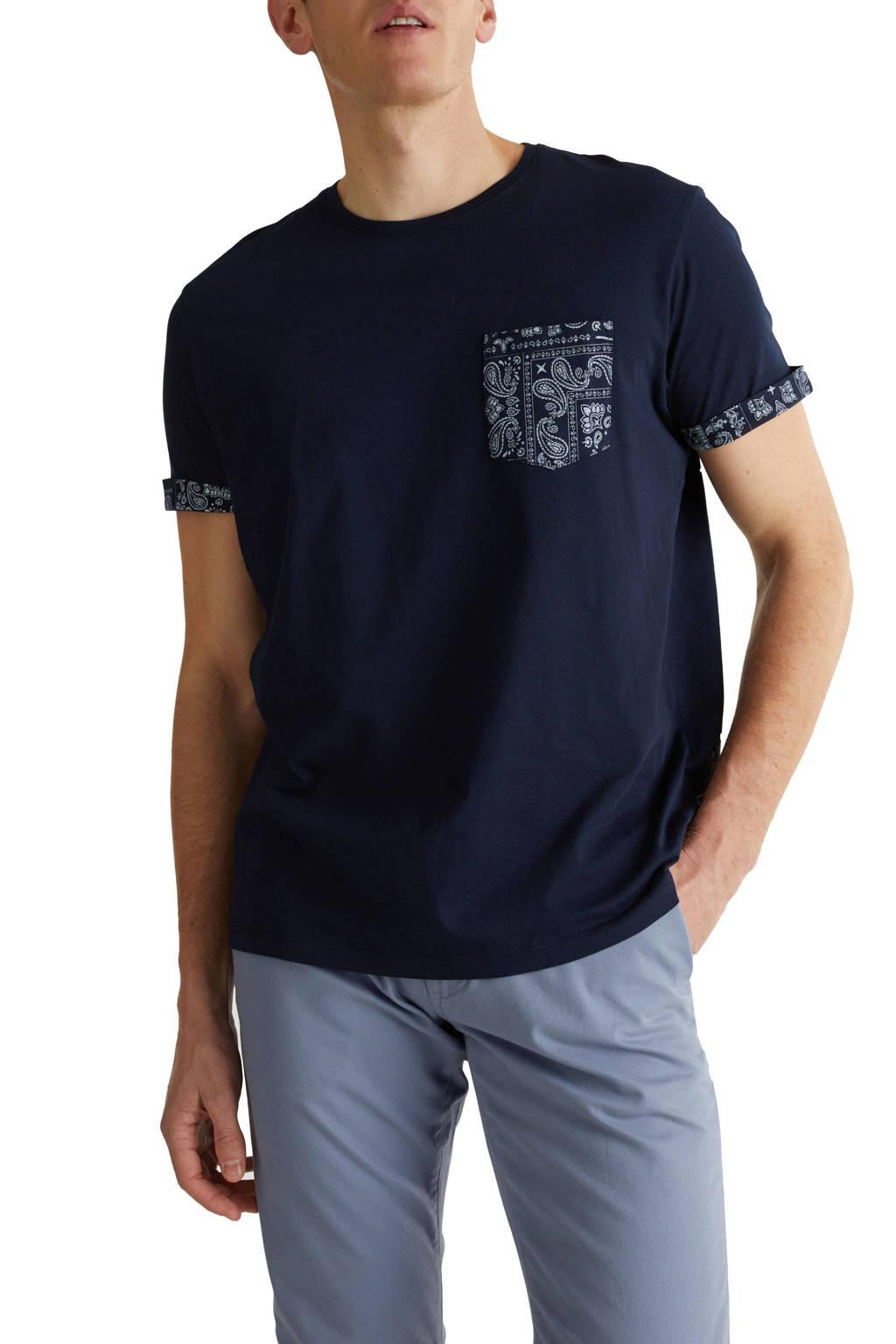 ESPRIT Men Casual T-shirt met printopdruk blauw, Blauw
