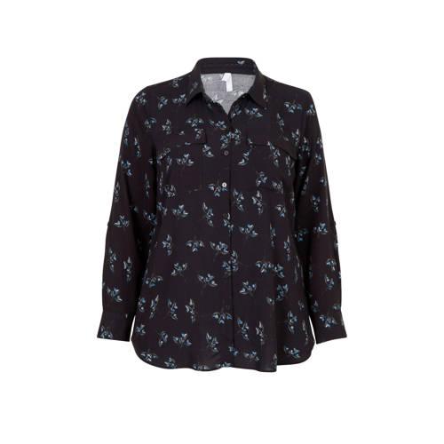 Miss Etam Plus blouse met all over print grijs