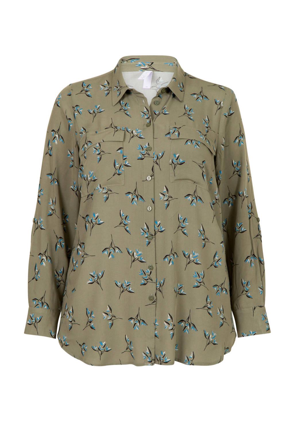 Miss Etam Plus blouse met all over print groen, Groen