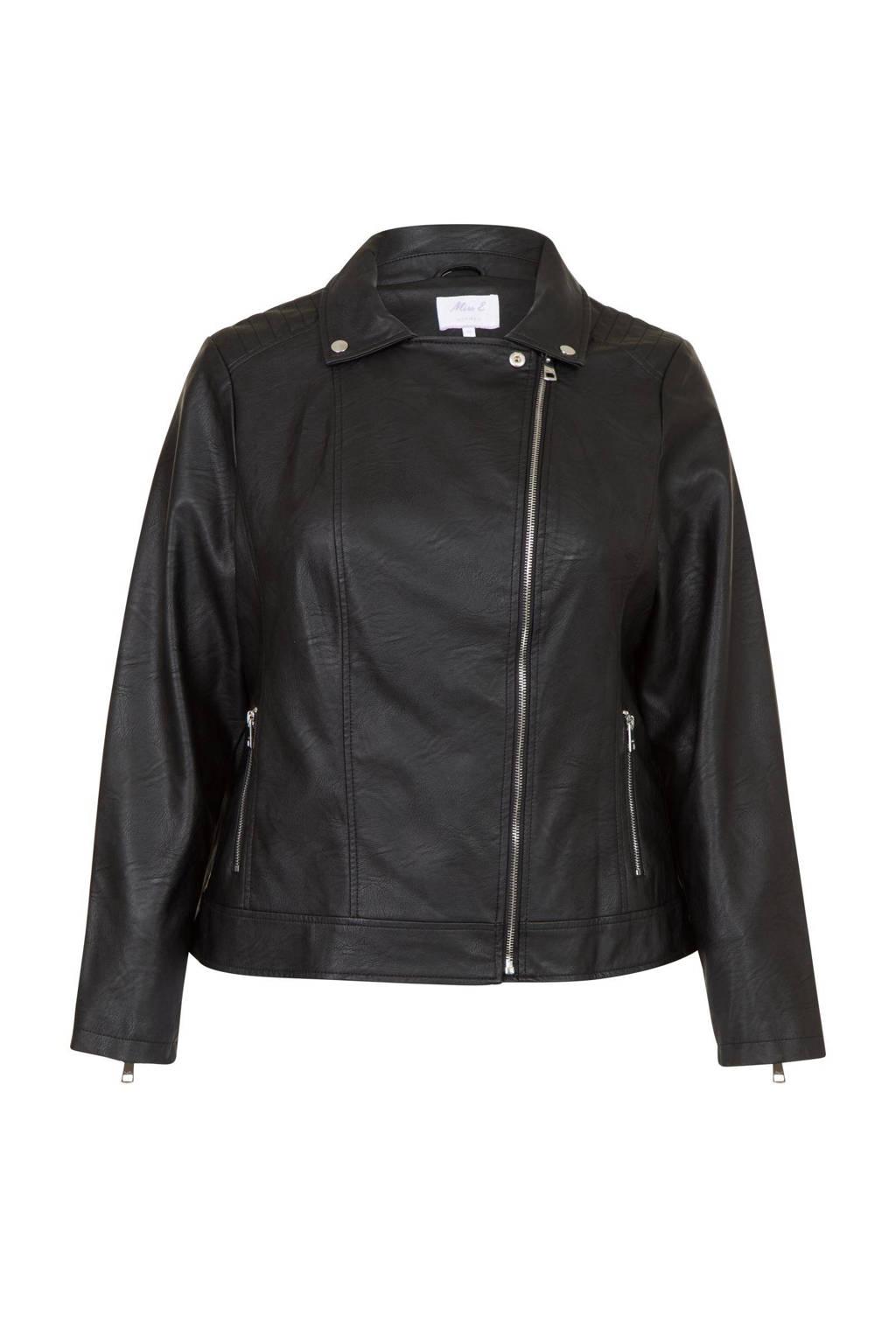 Miss Etam Plus imitatieleren bikerjack zwart, Zwart
