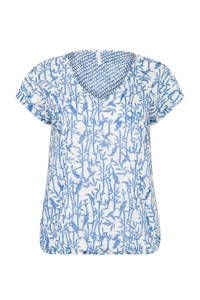 Miss Etam Plus T-shirt met all over print wit, Wit