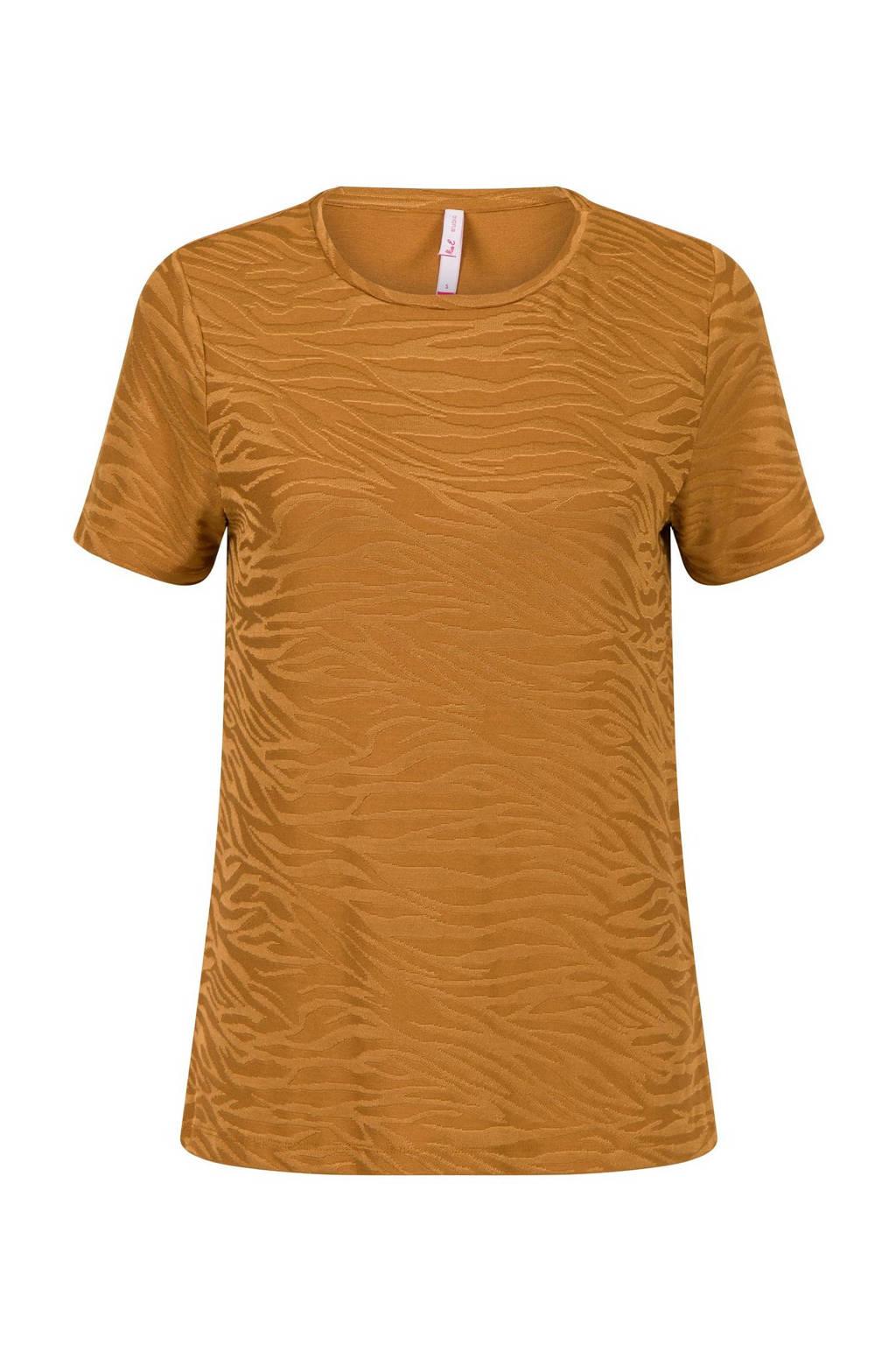 Miss Etam Regulier T-shirt met zebraprint bruin, Bruin