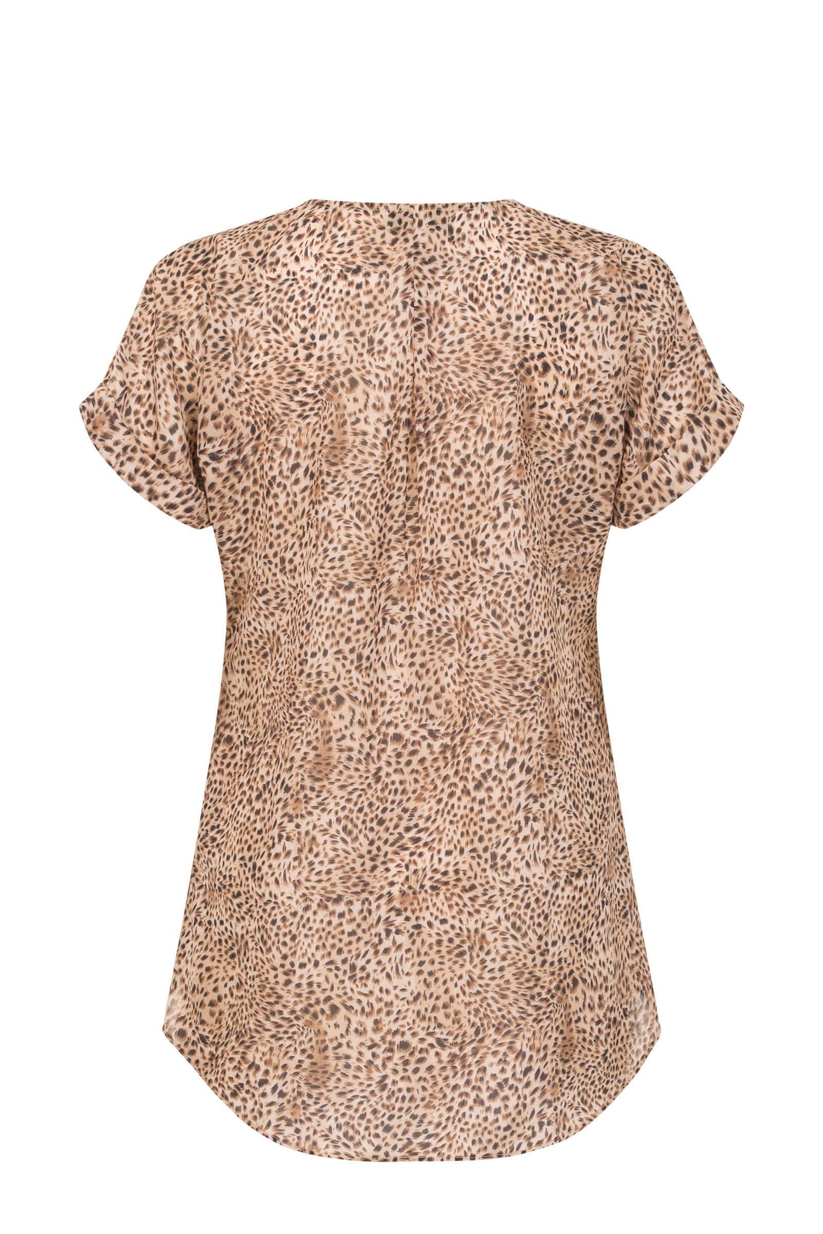 PROMISS T-shirt met all over print bruin
