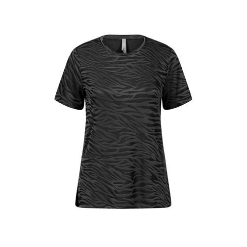 Miss Etam Regulier T-shirt met zebraprint zwart