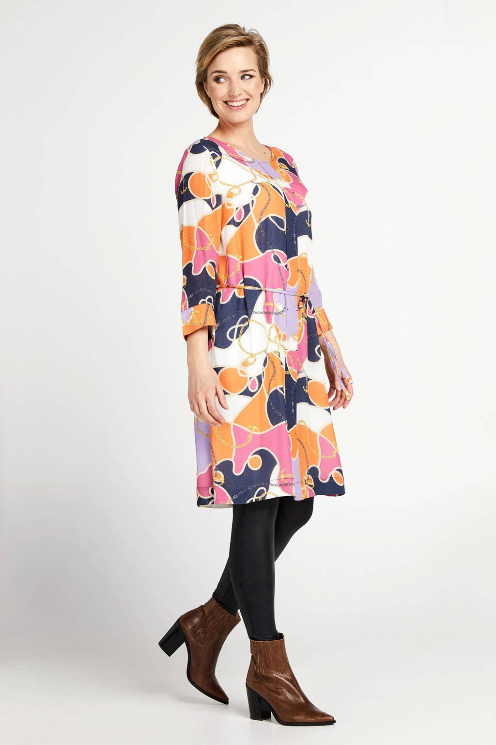 PROMISS jurk met all over print en ceintuur zand, Zand