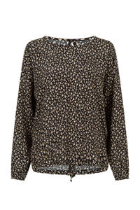 Miss Etam Regulier top met all over print zwart, Zwart