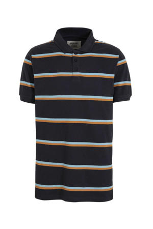 gestreepte regular fit polo donkerblauw