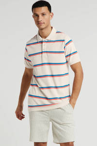 Anerkjendt gestreepte regular fit polo ecru, Ecru