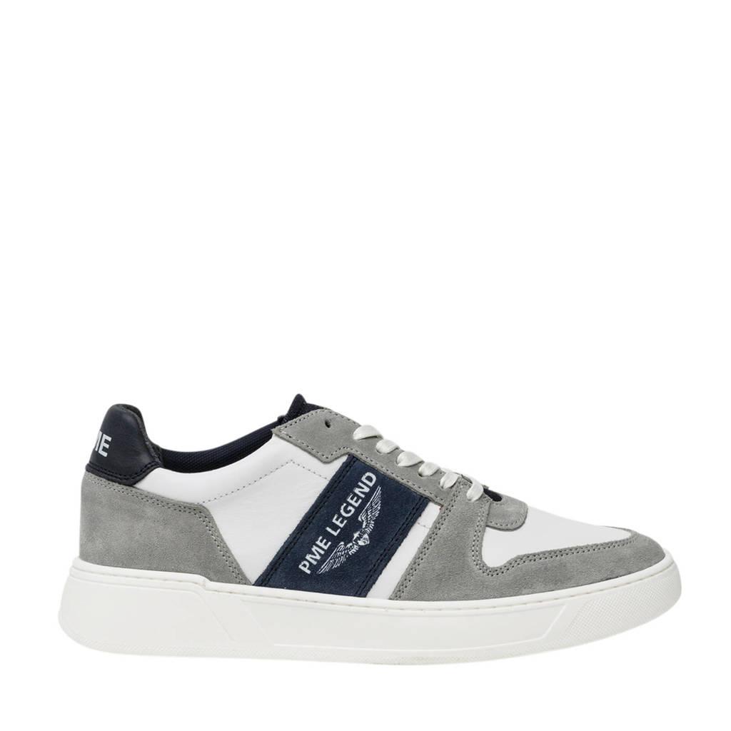 PME Legend Flettner  leren sneakers wit/grijs, Wit/Grijg