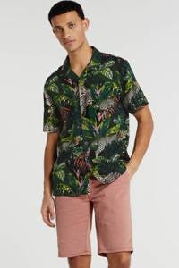 Anerkjendt regular fit overhemd met bladprint groen, Groen