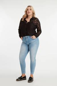 MS Mode semi-transparante kanten blouse zwart, Zwart