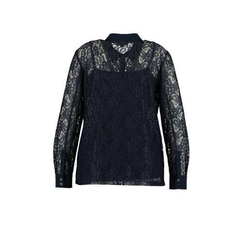 MS Mode semi-transparante kanten blouse marine