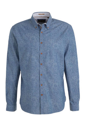 gebloemd slim fit overhemd blauw