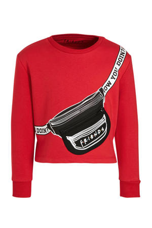 cropped sweater rood/zwart/wit