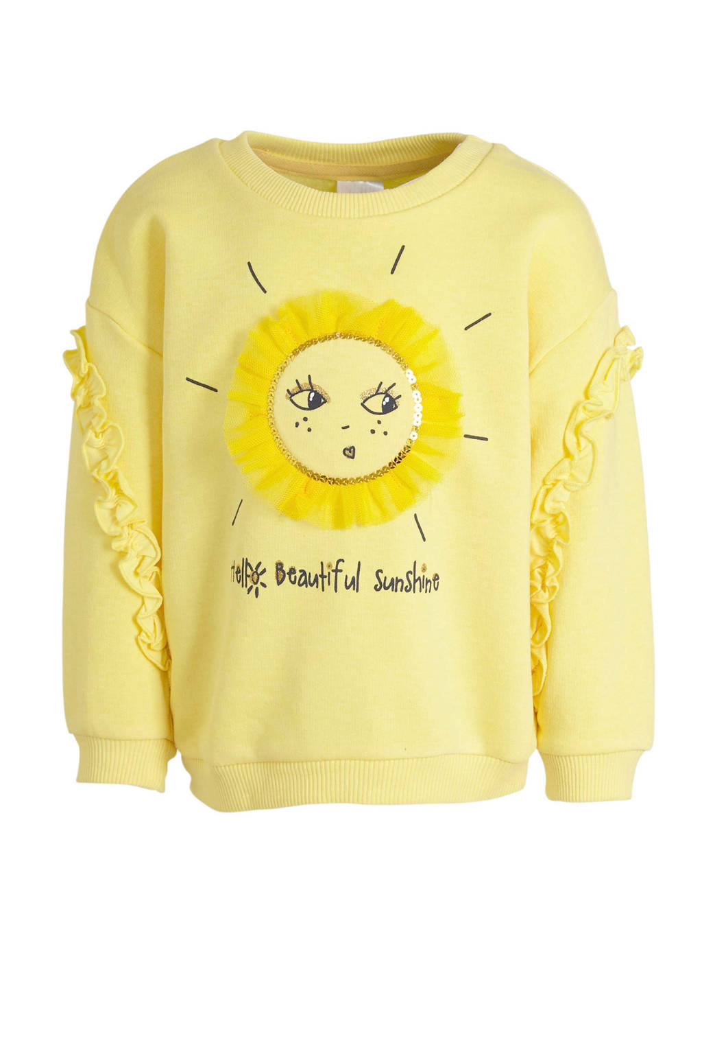 C&A Palomino sweater met tekst en pailletten geel/zwart, Geel/zwart