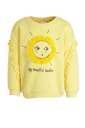 sweater met tekst en pailletten geel/zwart