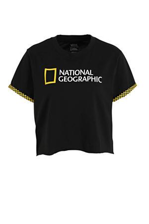 X National Geographic cropped T-shirt zwart