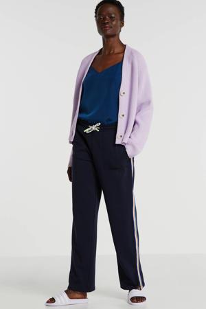 loose fit joggingbroek met zijstreep donkerblauw