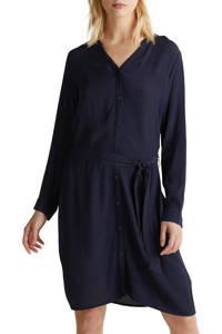 ESPRIT Women Casual blousejurk met ceintuur donkerblauw, Donkerblauw