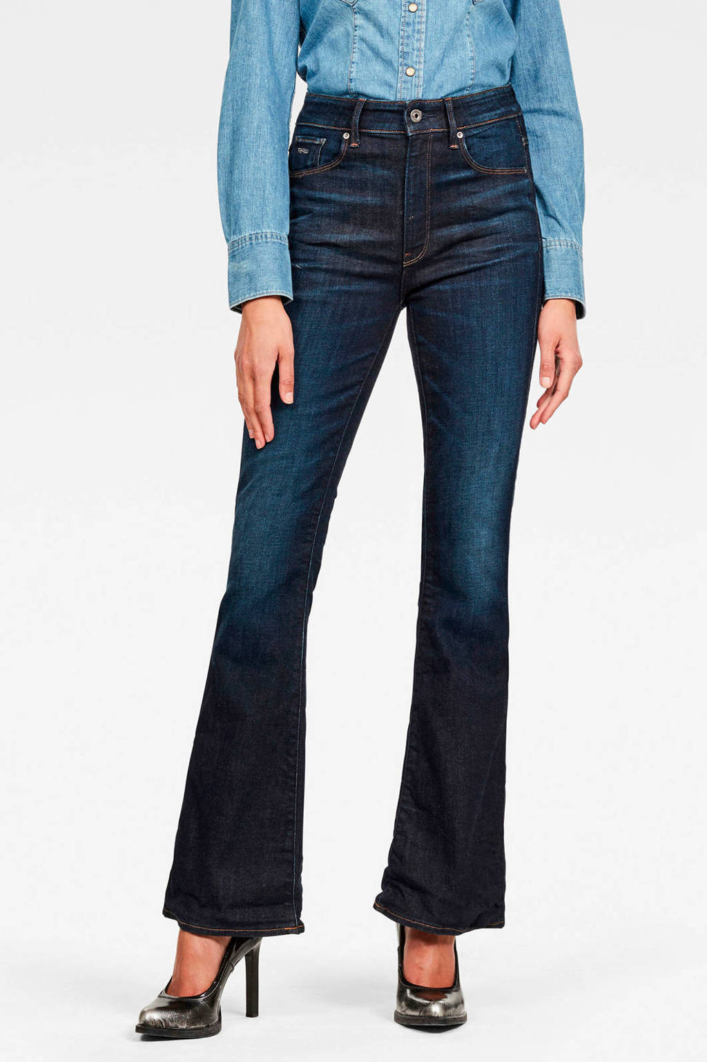 G-Star RAW 3301 high waist flared jeans donkerblauw, Donkerblauw