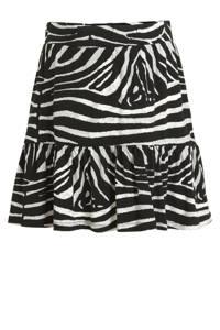 Geisha rok met zebraprint en volant zwart/beige, Zwart/beige