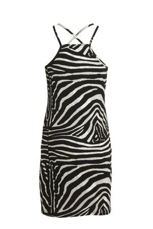 jersey jurk met zebraprint zwart/beige