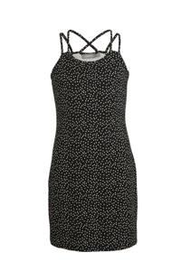 Geisha jersey jurk met stippen zwart/wit, Zwart/wit
