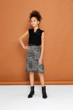 rok met zebraprint en volant zwart/beige
