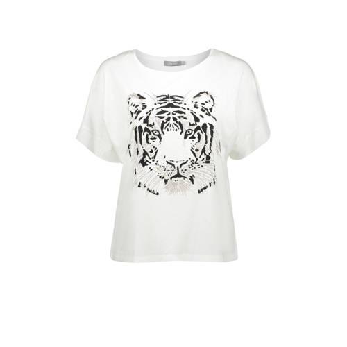 Geisha T-shirt met printopdruk en glitters offwhit
