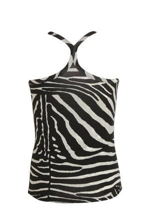 top met zebraprint zwart/beige