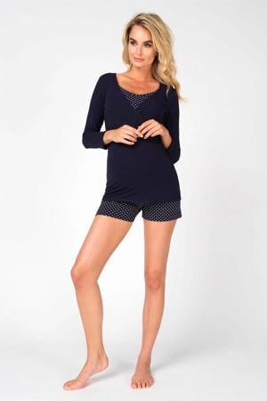 zwangerschaps pyjamashort Merel met stippen donkerblauw/wit
