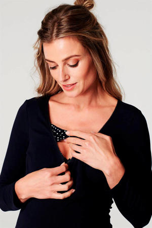 zwangerschaps pyjamatop Demi donkerblauw