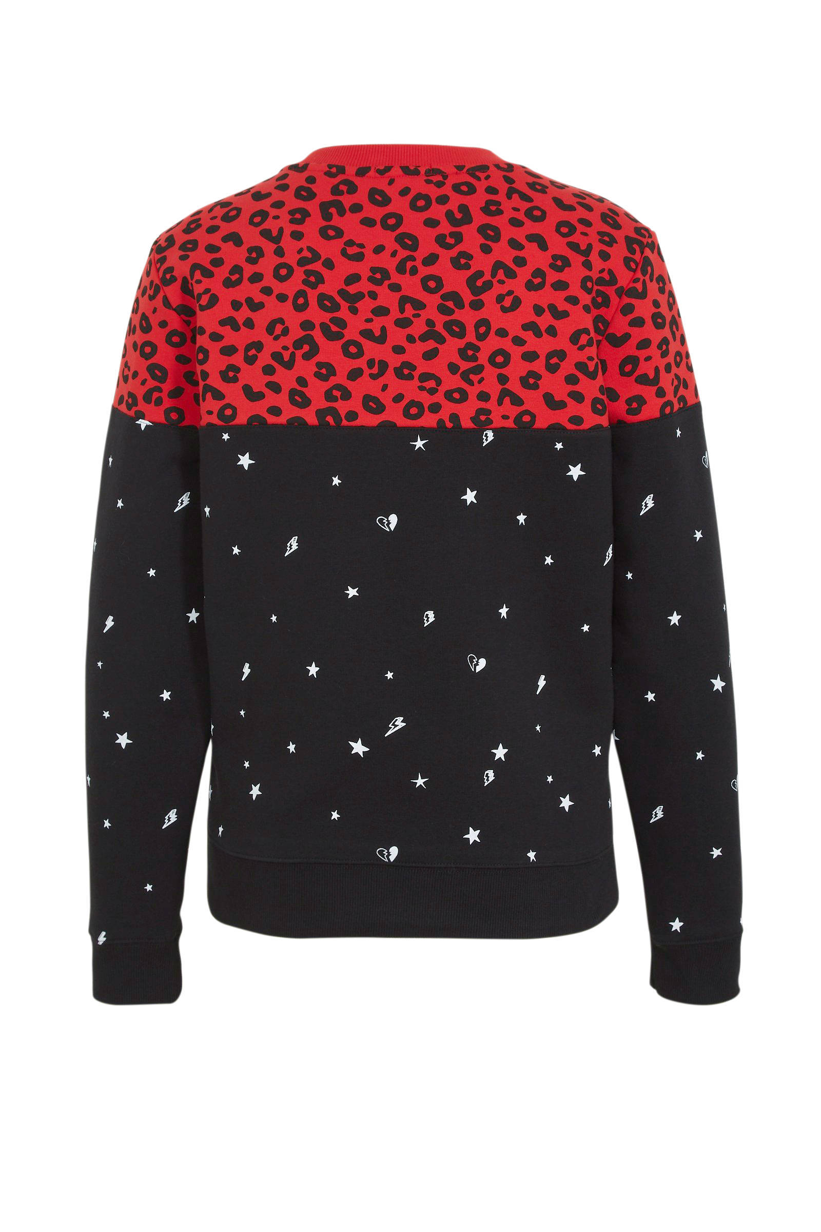 Colourful Rebel sweater Leopard Star met panterprint zwart