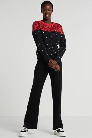 sweater Leopard Star met panterprint zwart/rood