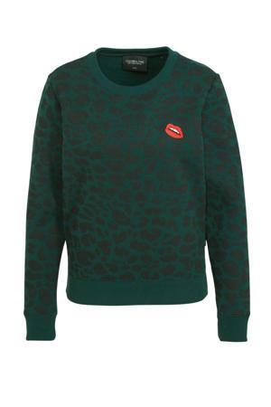 sweater Leopard met panterprint en borduursels donkergroen