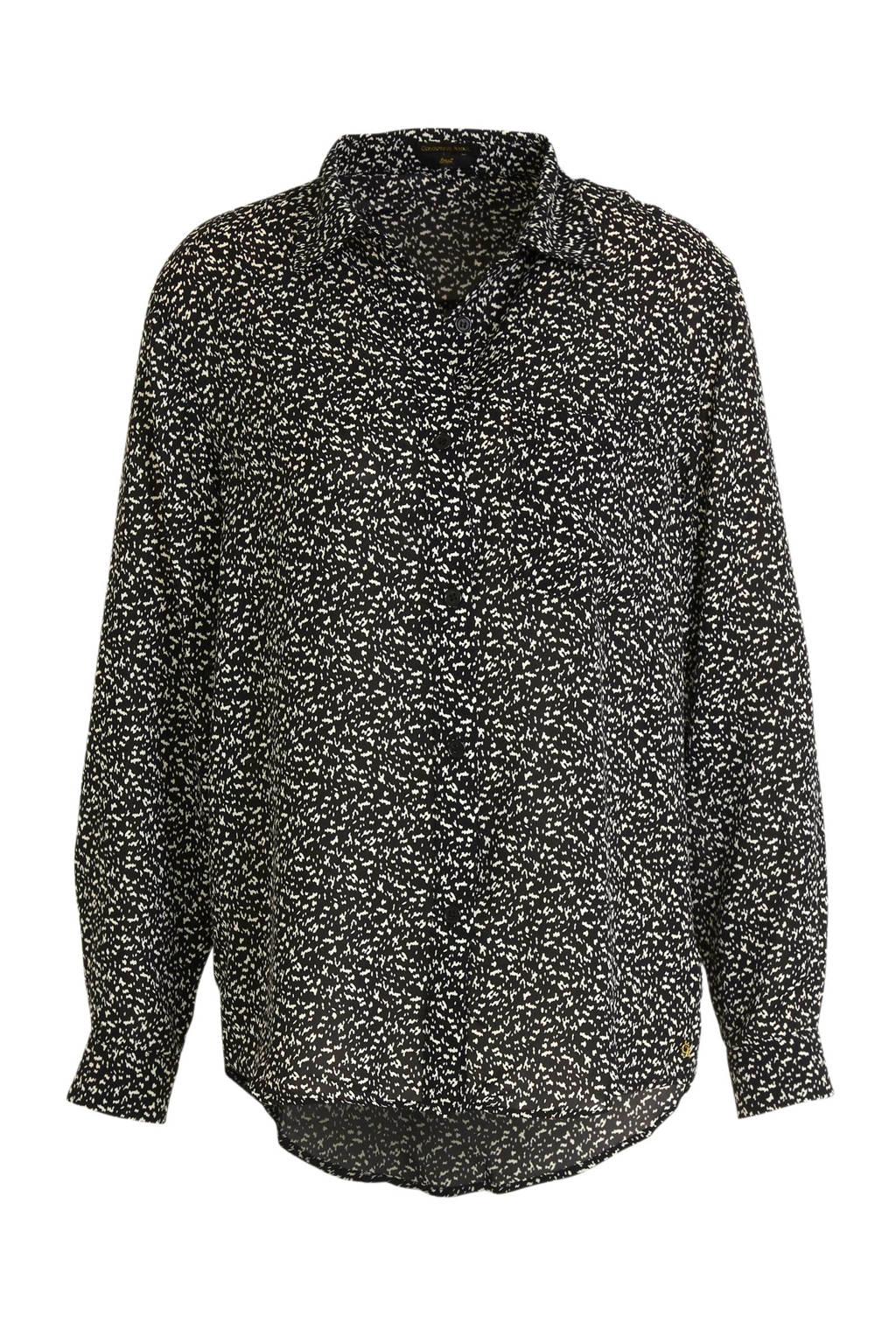 Colourful Rebel blouse Lean met all over print zwart/ wit