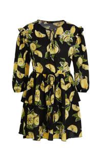 Colourful Rebel jurk Saar met all over print en volant zwart/geel, Zwart/geel