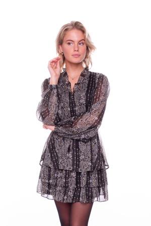 semi-transparante geweven peplum blouse Xhilly met paisleyprint en glitters zwart