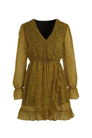 jurk Claire met panterprint en ruches geel