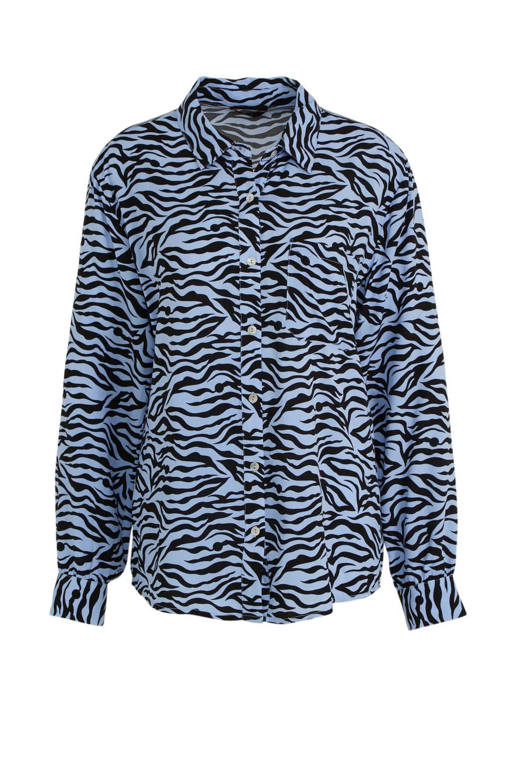 Colourful Rebel blouse Lean met all over print lichtblauw/zwart, Lichtblauw/zwart