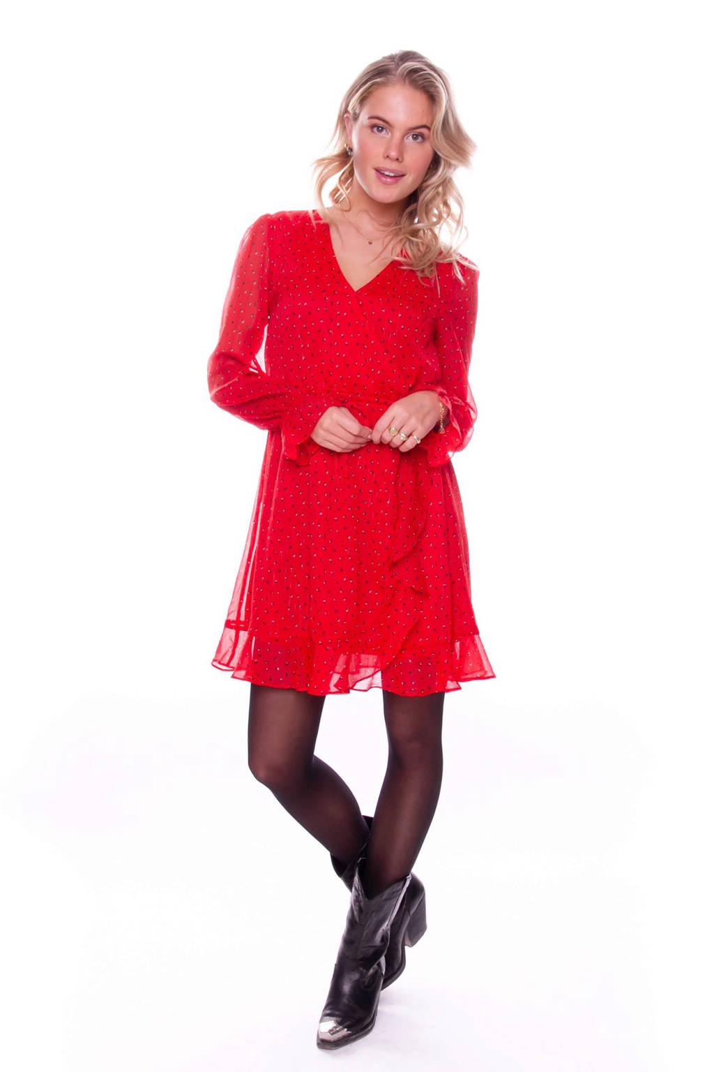 Colourful Rebel semi-transparante wikkeljurk Claire met all over print en glitters rood, Rood