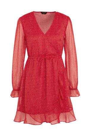 semi-transparante wikkeljurk Claire met all over print en glitters rood