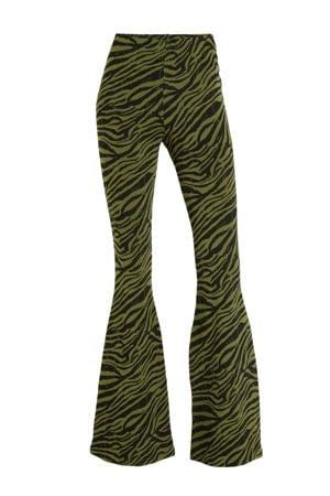 flared tregging met zebraprint zwart/ groen