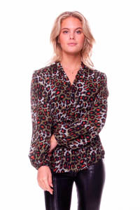 Colourful Rebel blouse Xhilly met panterprint legergroen, Legergroen