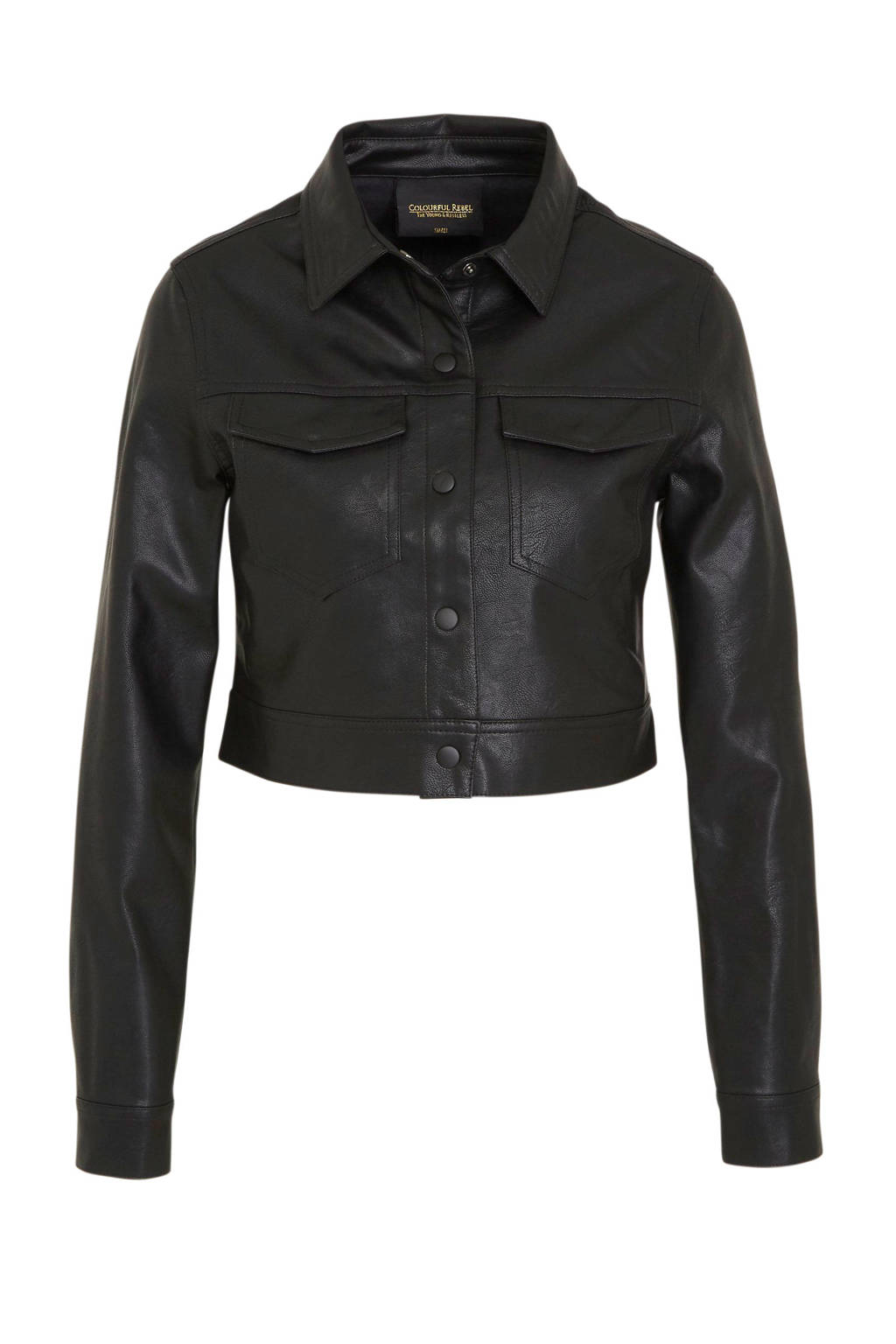Colourful Rebel imitatieleren jasje Paris zwart, Zwart