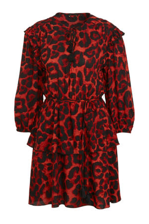 jurk Saar met panterprint roestbruin