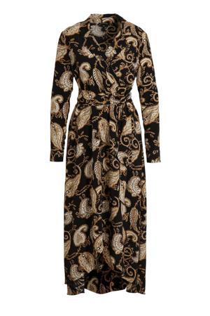 maxi jurk Vivian met all over print zwart/geel