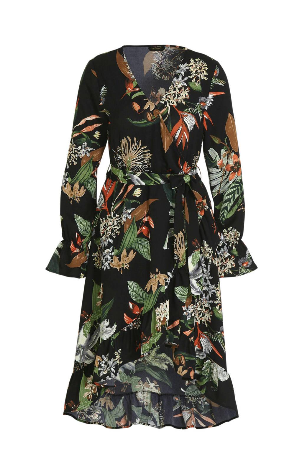 Colourful Rebel gebloemde jurk River Tropical zwart, Zwart