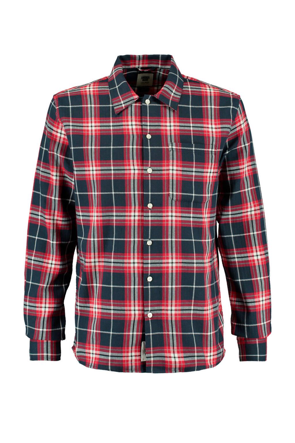 America Today geruit regular fit overhemd rood, Rood