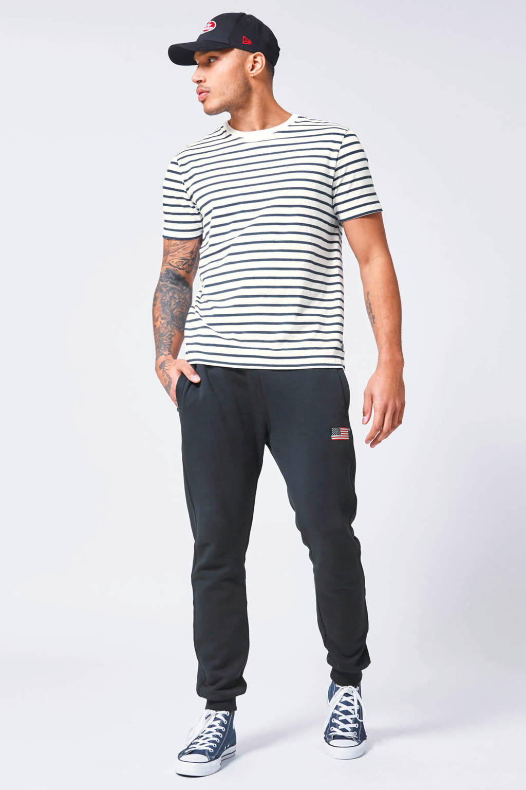 America Today gestreept T-shirt Elba white/navy, White/Navy